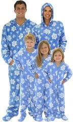 onesies for the whole family, christmas pj's, matching footed pj's