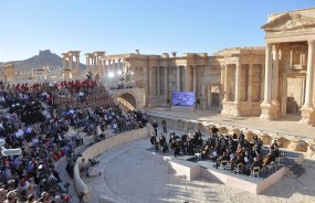 Russia's Mariinsky Theatre performs at the amphitheatre of the Syrian city of Palmyra, Syria in this handout picture provided by SANA on May 5, 2016. SANA/Handout via REUTERS ATTENTION EDITORS - THIS PICTURE WAS PROVIDED BY A THIRD PARTY. REUTERS IS UNABLE TO INDEPENDENTLY VERIFY THE AUTHENTICITY, CONTENT, LOCATION OR DATE OF THIS IMAGE. FOR EDITORIAL USE ONLY.