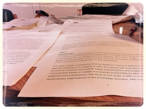 A picture of various draft word processed documents