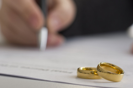Marriage licensing signing. Marital agreements