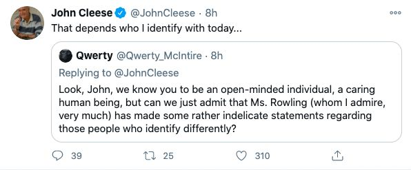 John Cleese Identify with tweet