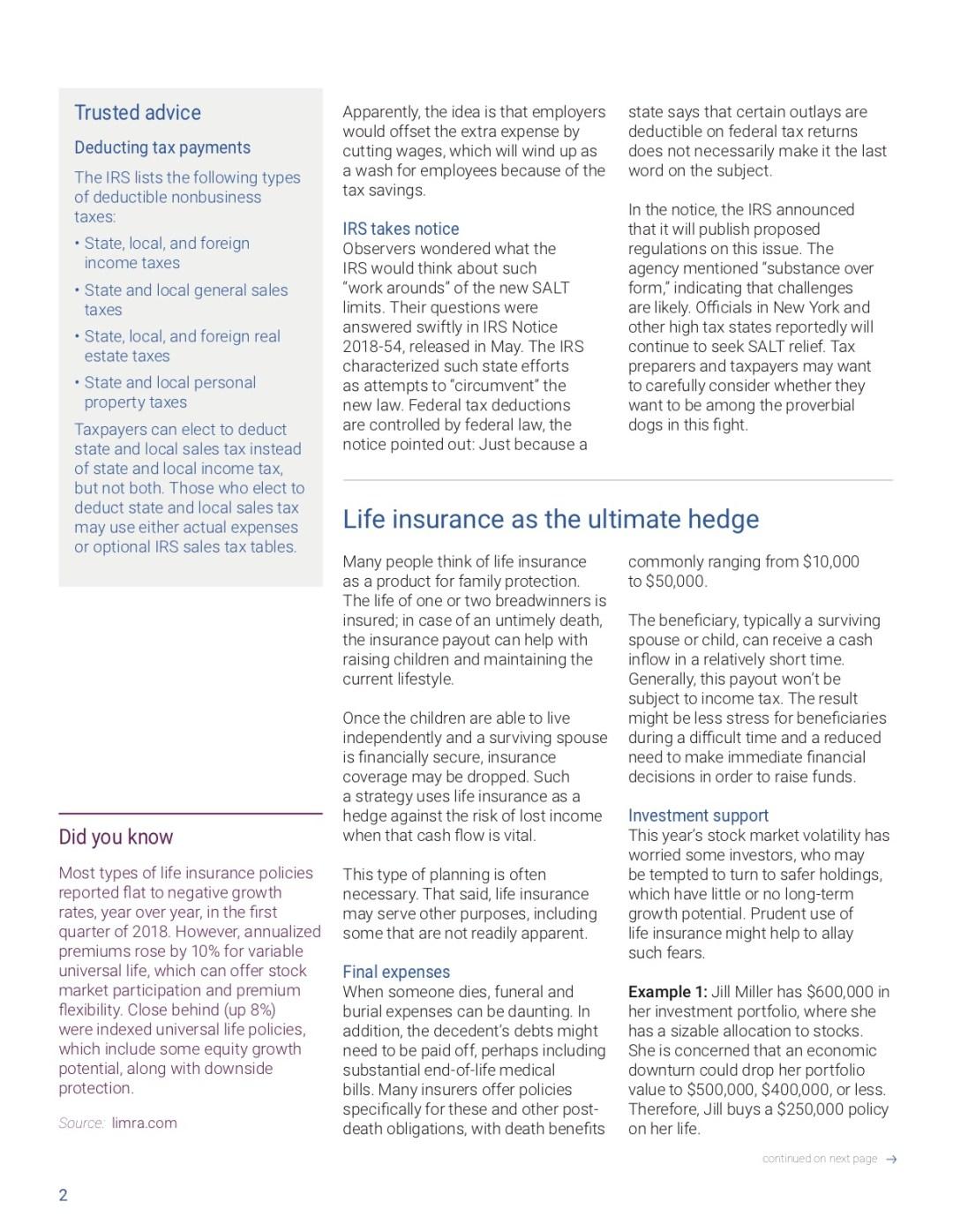 SALT, life insurance, tax calendar