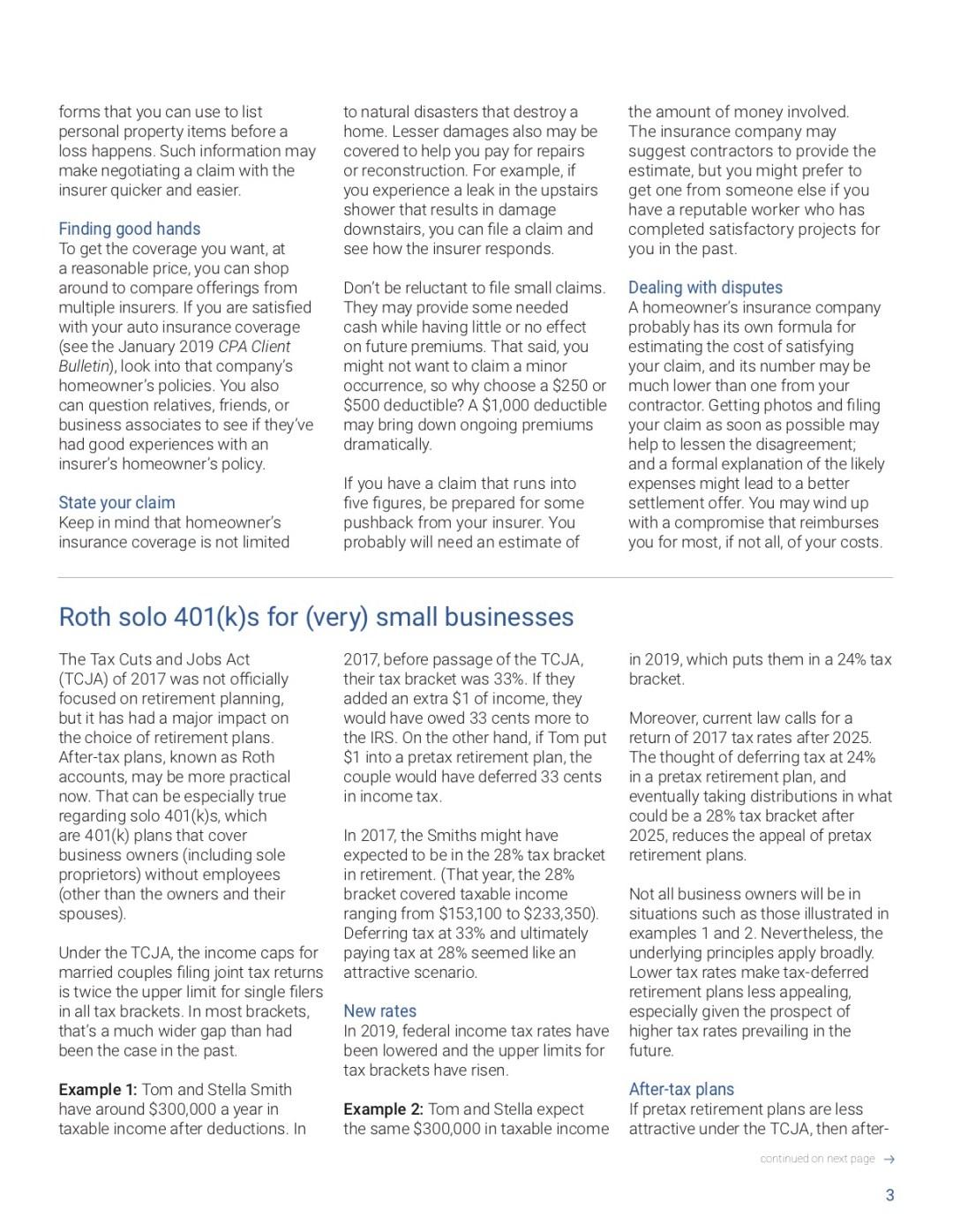 Standard deduction, homeowner's insurance, Roth solo 401k, tax calendar