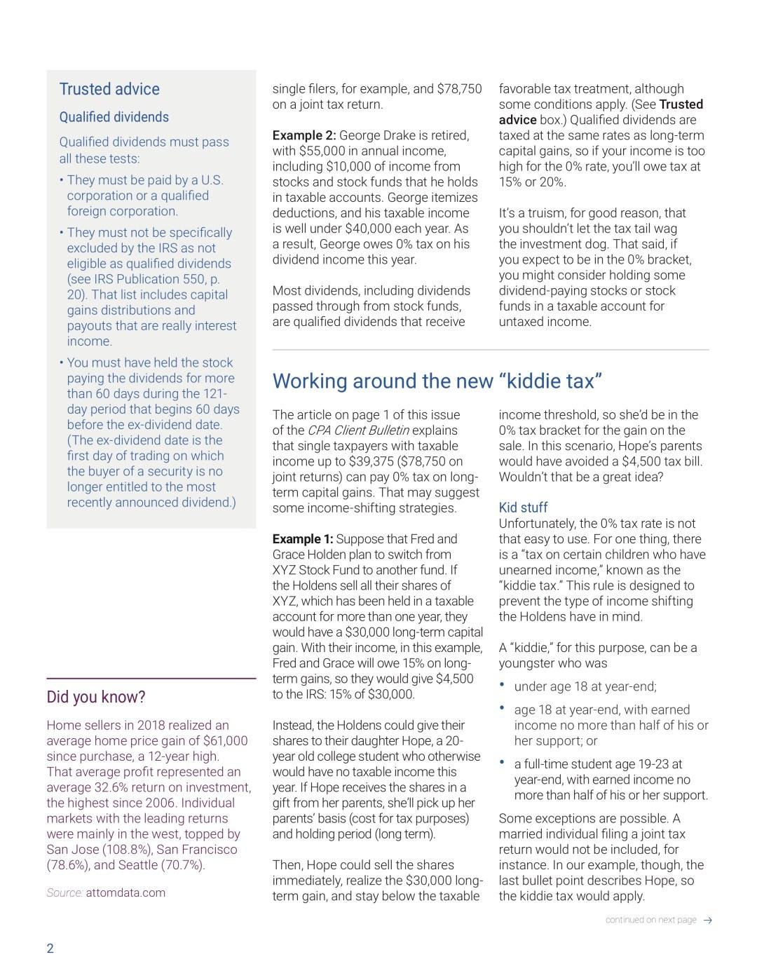 AICPA May Client Bulletin, 0% tax, tax calendar