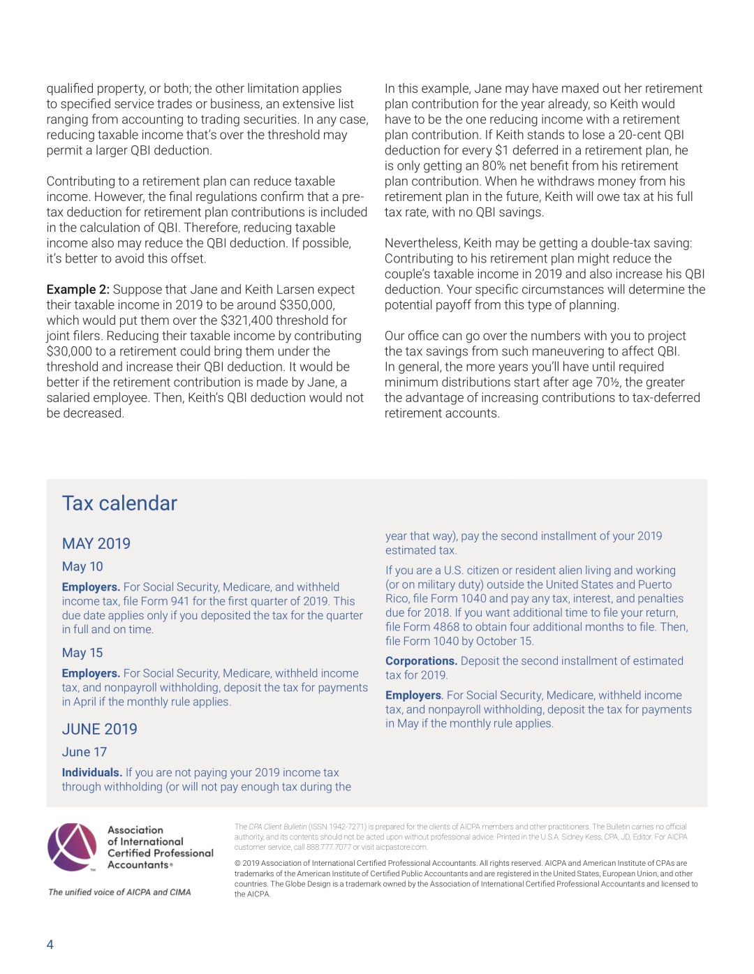 AICPA May Client Bulletin, 0% tax, tax calendar