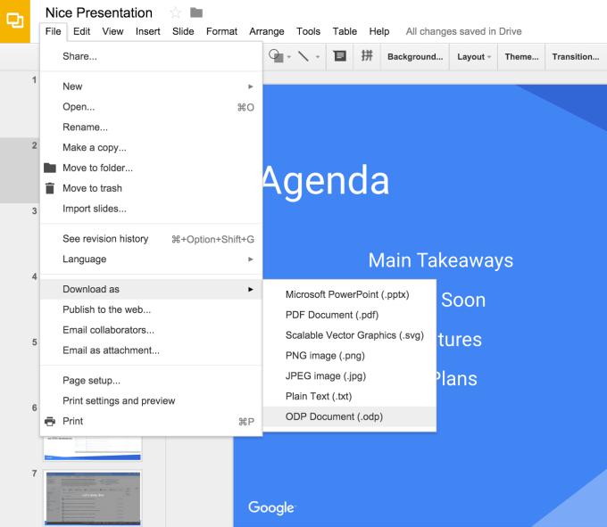 google slides for creating slide presentations for websites