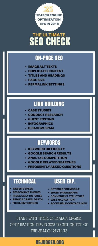 checklist about tips on elements of organic web seo including keywords and titles and links