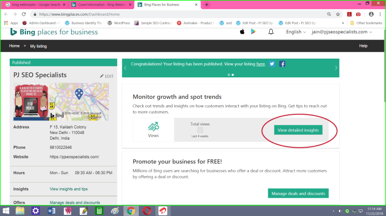 use bing local map listing to monitor how users view your company profile