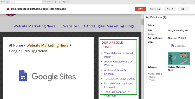google search console is showing right sidebar content in data highlighter tool now