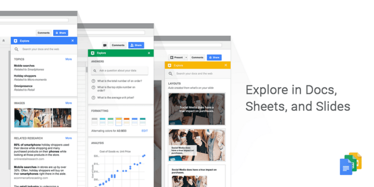 some of the recently refined services by google are slides docs sheets and gmail