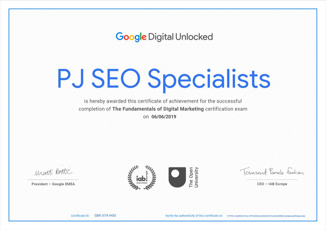google fundamentals of digital marketing certification