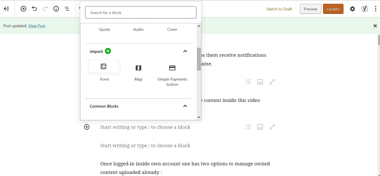 block choices for contact form or maps in the new editor plugin for producing websites