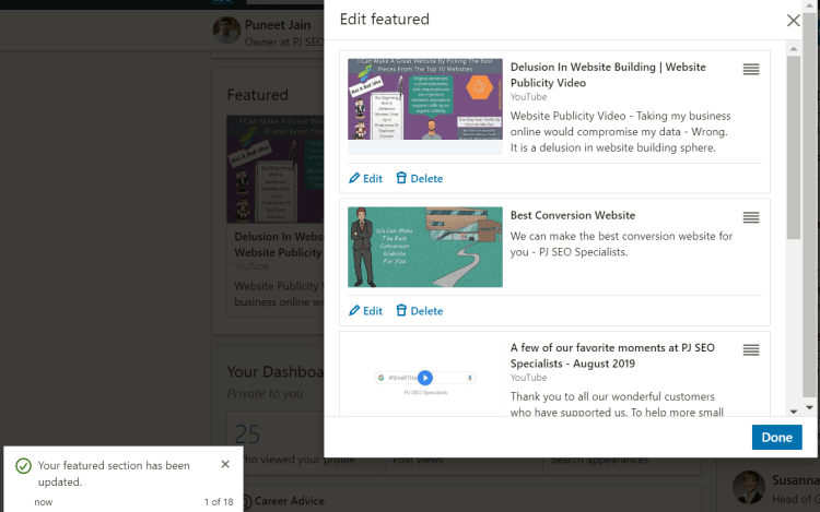 drag and position featured content at linkedIn profile page