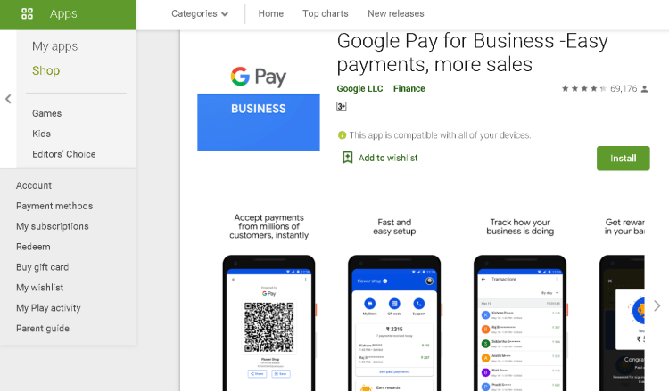 download the g pay application through google play store