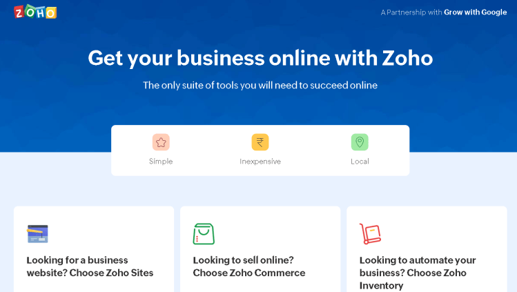 you can either build a shopping site or make a b2b website at zoho