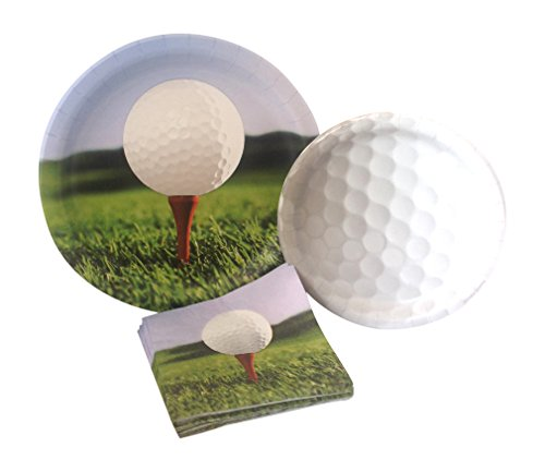 Golf Party Supply Pack! Bundle Includes Paper Plates & Napkins for 8 Guests