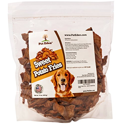 Sweet Potato Fries Dog Treats Made in USA Only by Pet Eden, Best Grain Free Natural Healthy Snacks for Small Dogs, 1 lb, Free of Fillers, No Additives or Preservatives, Premium Vegan Dog Treat