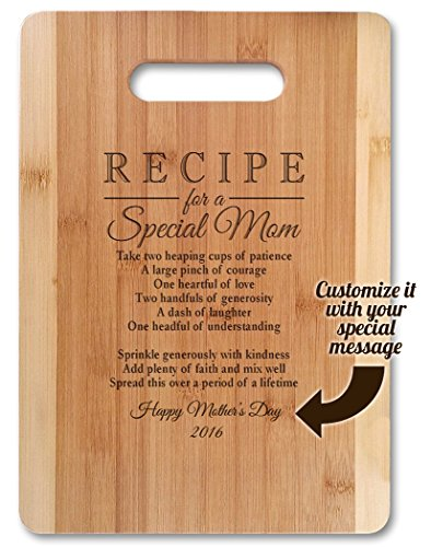 """Mothers Day Gift Recipe for a Special Mom ( Medium 13""""x9.5"""", Customized ) Bamboo Serving Cutting Board for Mothers Day Birthday or Christmas"""