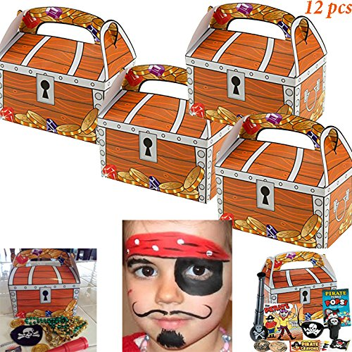 Adorox (12 Chests) Treasure Chest Treat Boxes Pirate Birthday Party Favor Goodies