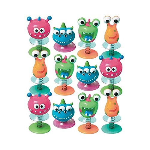 Fun-Filled Birthday Party Monster Creature Pop Up Spring Toy Favour, Plastic , Pack Of 12