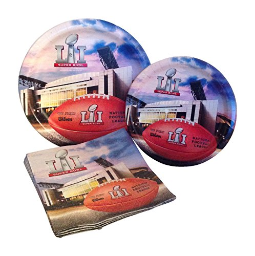 Super Bowl 51 Football Party Supply Pack! Bundle Includes Paper Plates & Napkins for 8 Guests