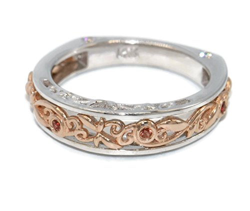 2 tone wedding band inspired by whimsical filigree pattern