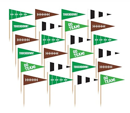 "Amscan Football Frenzy Birthday Party Flag Picks Serveware (36 Pack), Multi Color, 2"" x 2.5""(5 cm x 6.3 cm)"