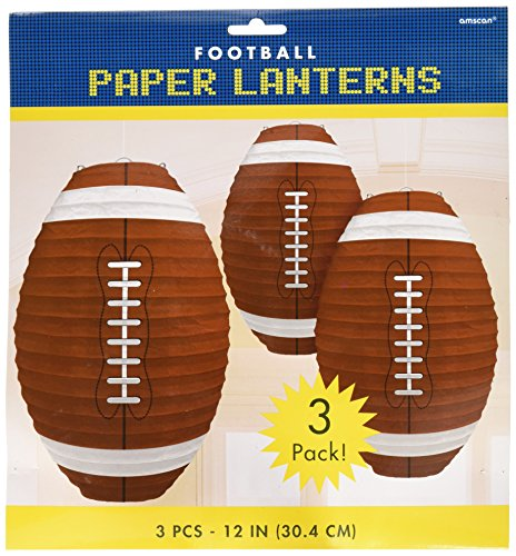 Amscan Football Frenzy Birthday Party Hanging Lanterns Decoration (3 Piece), Multi Color, 12 x 11""