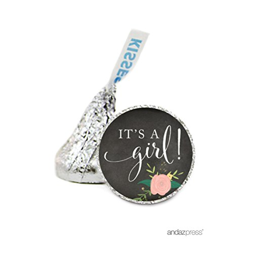 Andaz Press Chocolate Drop Labels Stickers Single, Baby Shower, Girl Chalkboard Floral Roses, 216-Pack, For Hershey's Kisses Party Favors, Gifts, Decorations