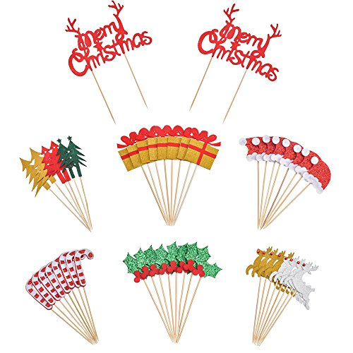 Antner 48 Pcs Christmas Cupcake Topper Decorations Christmas Party Cupcake Food Picks