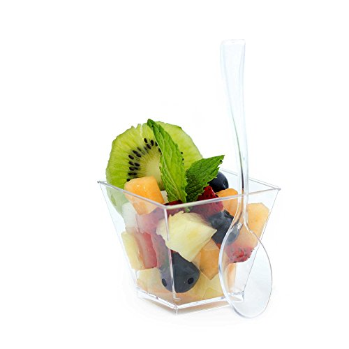 Dessert Cups 100 Ct and Plastic Spoons 100 Count, 2 Ounce Clear Disposable Square Cups, Acrylic Sample Tasting Shot Glasses, Elegant Restaurant Quality