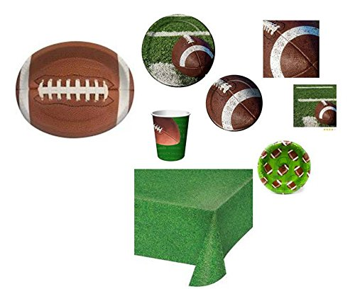 Disposable Plates, Napkins, Cups, Bowls, Tablecloth Football Themed Party Supplies, 13-Piece Bundle