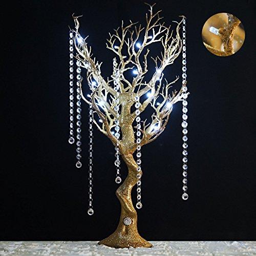 "Efavormart 30"" Tall Glitter Gold Manzanita Tree Centerpiece For Wedding Centerpiece Table Top Decoration W/ LED Lights (Battery)"