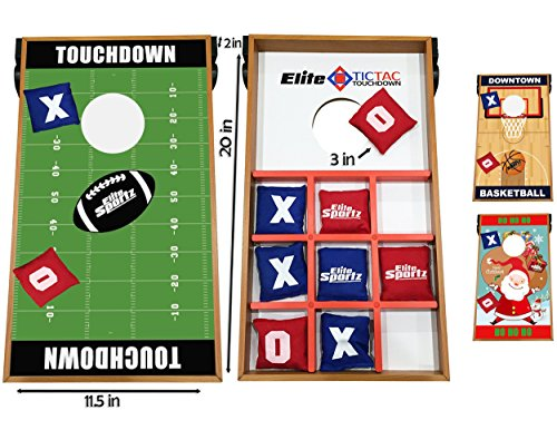 Elite Sportz Junior Bean Bag Toss Game - 2 Games on 1 Board - Tic Tac Toe and Cornhole Party Games for Kids (Football)