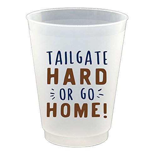 """Football Season """"Tailgate Hard Or Go Home!"""" Party Cups - Set of 8, 16 oz."""