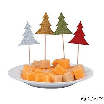 Glitter Christmas Tree Food Appetizer Cupcake Picks - 24 pc