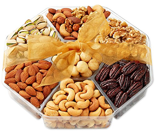 Holiday Nuts Gift Basket - Gift Baskets for Christmas, Food Gifts - 7-Section - Hula Delights