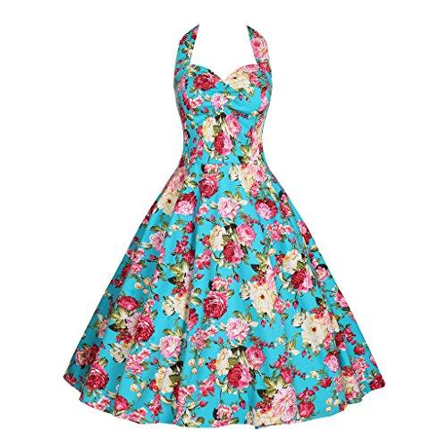 Minifaceminigirl Women's 1950s Halter Floral Vintage Retro Party Cocktail Swing Dress