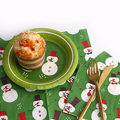 Peach Tree Winter Holiday Christmas Theme Party Dinnerware Supplies Disposable Includes Paper Plates (18 pieces), Napkins (25 pieces) (7'', 2)