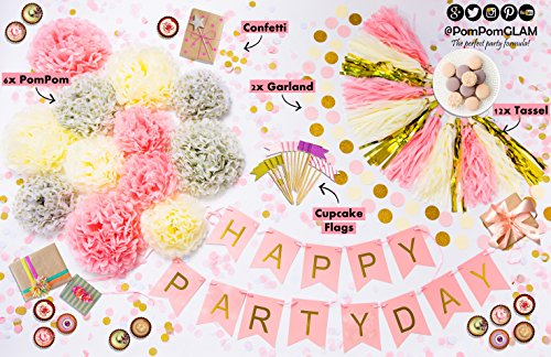 Pink Gold Party Supplies Kit with BONUS Cupcake Toppers Glitter Decorations Flags Picks By PomPomGLAM
