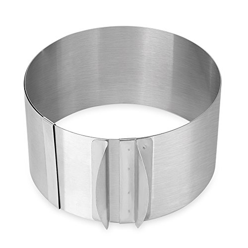 QHYT Home Baking Tool Stainless Steel Adjustable Circle Design Cupcake Cheesecake Pan Mold Silver