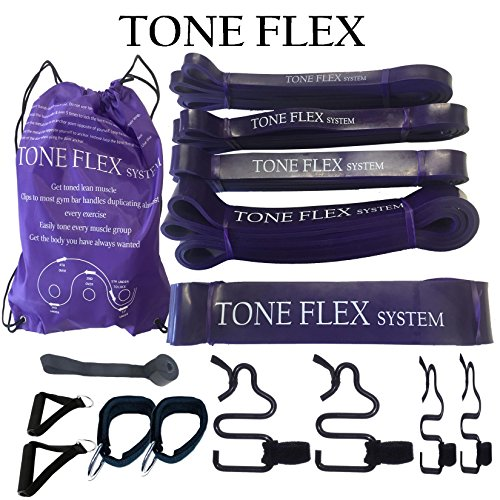 TONE FLEX resistance band fitness system THE ONLY Adjustable Buckle Total beach body home travel gym workout Build toned lean muscle w/o bulking up Works with existing pull up bands, gym handles & TRX