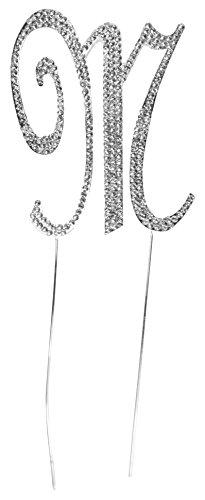 "Wedding Cake Topper - ""Rhinestone M"" Cake Topper - Letter M Silver Cake Topper with Bling (Letter M)"