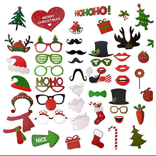 49pcs Happy Party Photo Booth Props Kit - iRush Fun Family Theme Holiday Party Decoration DIY Funny Glasses Moustache Red Lips Deer Horn Haton Selfi Sticks, Santa / Elf Costume Photo Stick