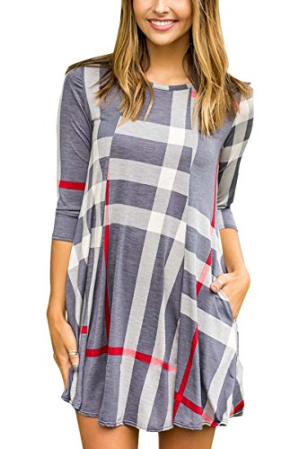 Boosouly Dress For Women Stylish Cotton Plaid Printed Tunic T-shirt Dress With Pocket Gray S