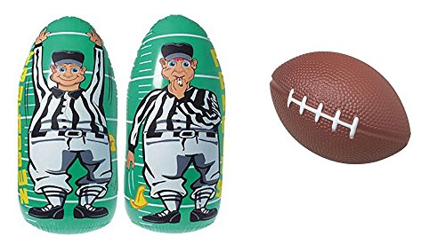 Football Toy Party Favor Supplies 13 Piece Set Bundle Stressballs Inflatable Referee Punching Bag