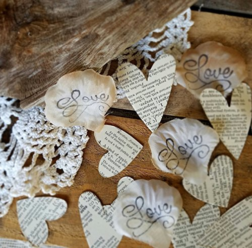 Handmade Silk Rose Petals with Book Page Heart Confetti, Love Story Themed, Vintage, Rustic, Romantic Aisle or Table Scatter DIY Decorations for Weddings, Bridal Showers, Engagements