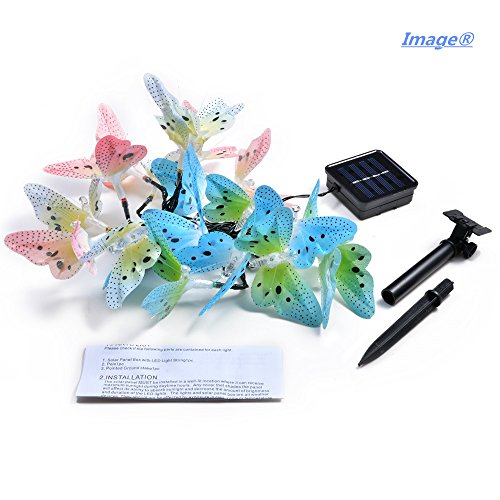 IMAGE® Butterfly Solar String Lights Decorative Multi-color Beautiful Animal Design Light 20 Led for Garden, Lawn, Patio, Wedding, Party, Bedroom, Outdoor Decoration