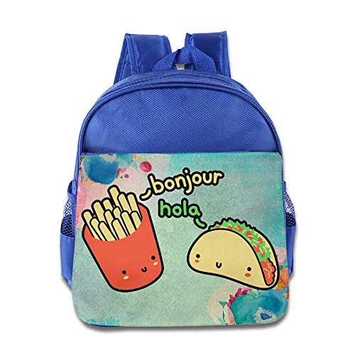 Logon 8 Cute Burger And Fries Cute Bag RoyalBlue For 3-6 Years Olds Tollder