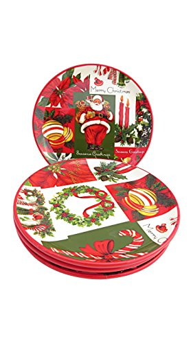 Martha Stewart Collection Set of 4 Holiday Vintage Paper Appetizer Plates